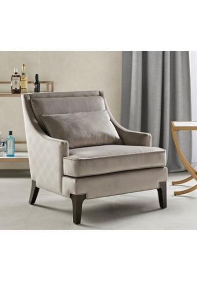Grey Velvet Lounge Chair with Lumbar Pillow