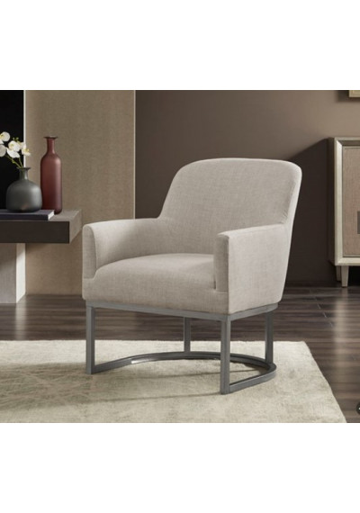 Beige Fabric Curved Brushed Silver Base Accent Chair
