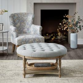 Round Grey Fabric Tufted Coffee Table Ottoman with Bottom Shelf