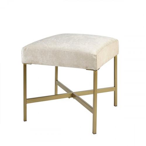 Soft Cream Color Fabric Gold Base Square Footstool Ottoman
