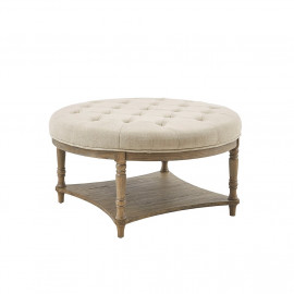 Round Natural Fabric Tufted Coffee Table Ottoman with Bottom Shelf