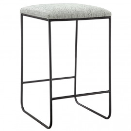 Black Metal & Grey Textured Fabric Simple Design Backless Counter Stool