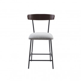Black Metal & Grey Fabric Simple Farmhouse Design Counter Stool