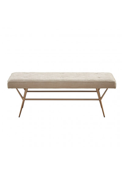 Light Tan Button Tufted Fabric Bench Antique Gold Base