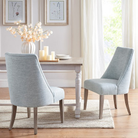 Faux Linen Light Blue Fabric Dining Chairs - Set 2