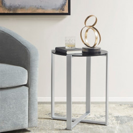 Black Glass Round Silver Metal Base Accent Side Table