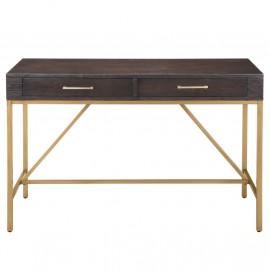Dark Wood & Gold Double Drawer Desk