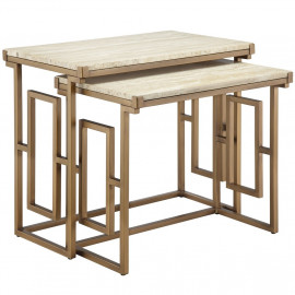 Marble and Gold Metal Nesting Accent Tables