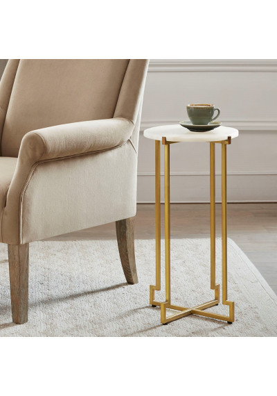 White Marble Top Gold Bronze Metal Base Martini Accent Table