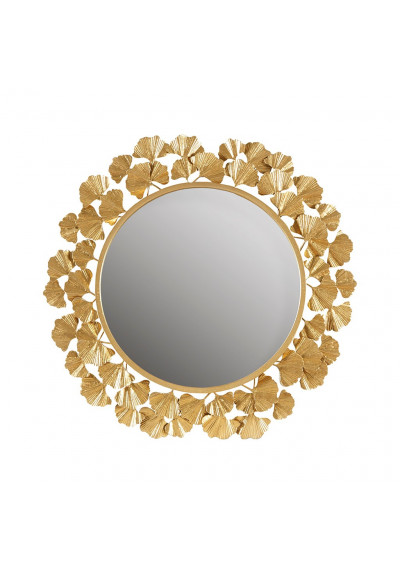 Gold Metal Leaves Frame Wall Mirror