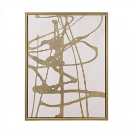 Gold Foil Abstract on White Canvas & Gold Framed Wall Art