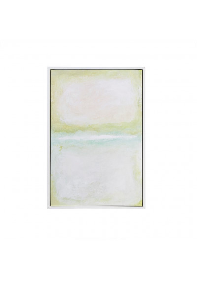 Soft Color Abstract Stripes Design Framed Gel Coat Canvas Wall Art