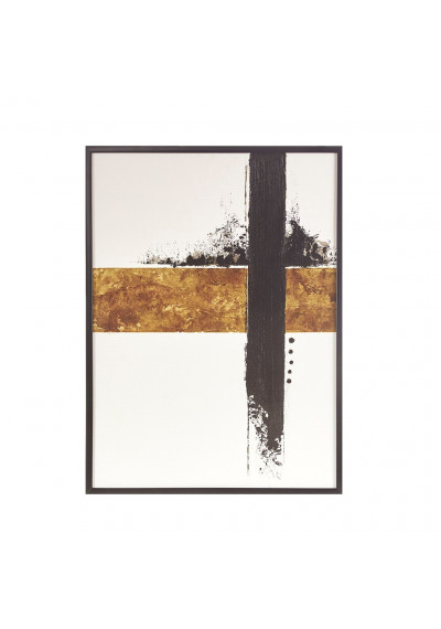 Bold Abstract Gel Coated Canvas Black Framed Wall Art