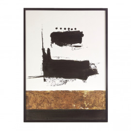 Bold Abstract Gel Coated White Canvas Black Framed Wall Art
