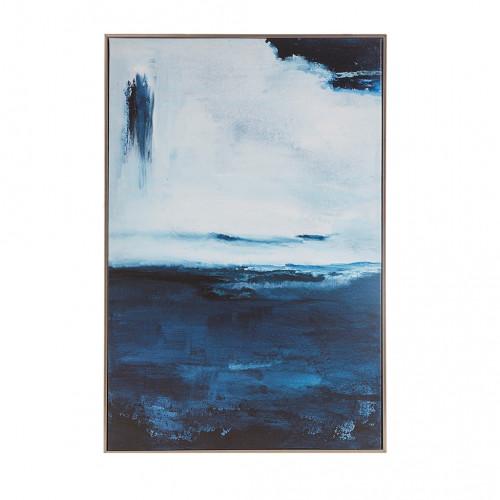 Blue Waves Design Rectangle Framed Wall Art