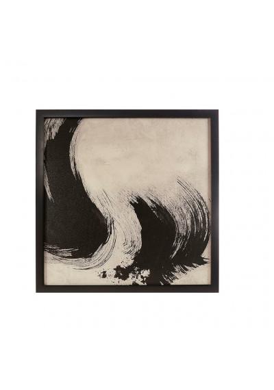 Black & White Abstract Brush Stroke Eyelash Design Framed Canvas Wall Art