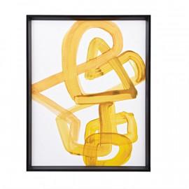 Yellow Abstract Brush Stroke Framed Wall Art