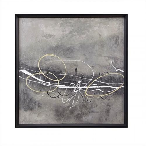 Grey Modern Abstract Design Black Framed Wall Art