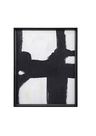 Black Abstract Brush Stroke Framed Wall Art