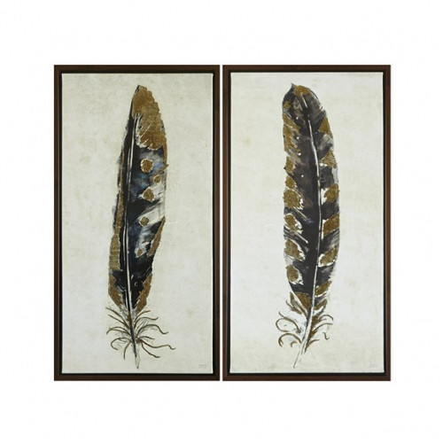 Gold Foiled Feathers Wall Art Set 2
