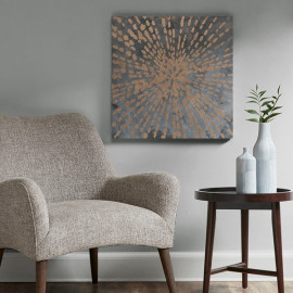 Exploding Gold Star on Grey Canvas Wall Art