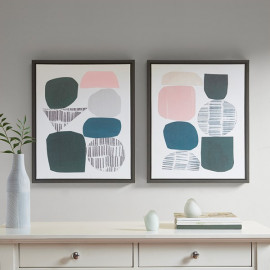 Blue Pink Grey Abstract Stones Wall Art - Set of 2