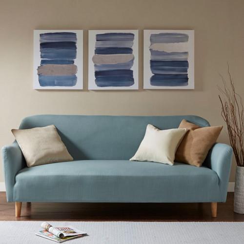 Blue Brush Strokes Canvas Wall Art Set of 3