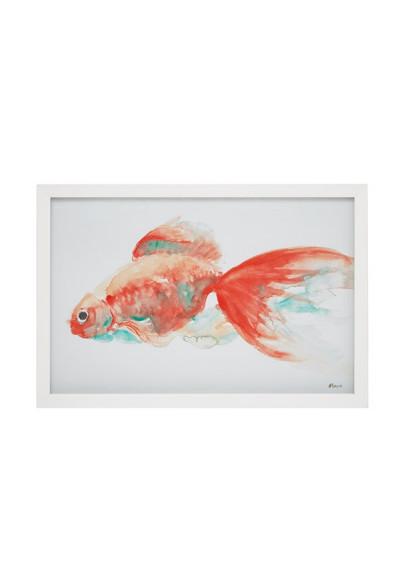 Gold Fish White Frame Wall Art