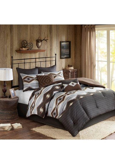 Southwestern Style Comforter Set Browns Greys Queen & King Size