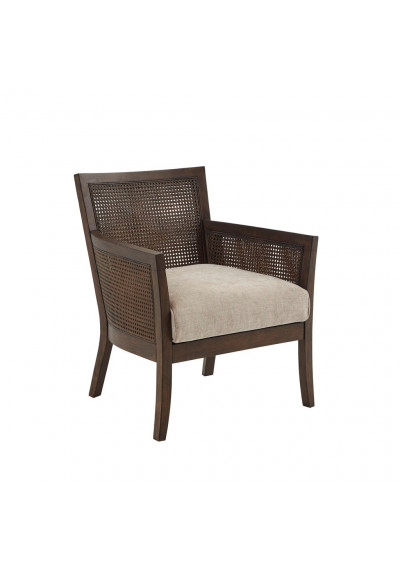 Espresso Wood Cane Back Accent Chair