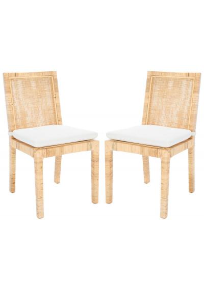 Natural Cane Frame Soft White Cushion Dining Chair Set 2