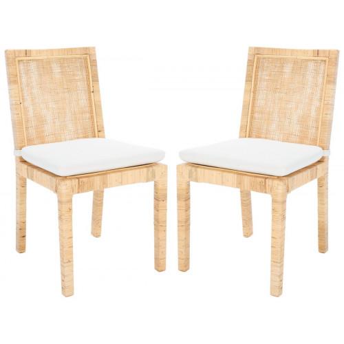 Natural Cane Rattan Frame Soft White Cushion Dining Chair Set 2
