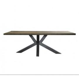 Reclaimed Teak Wood Rectangle Industrial Metal Legs Dining Table