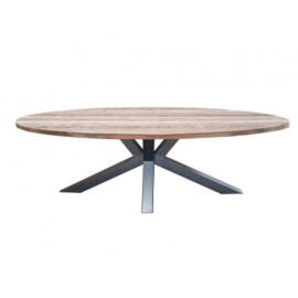 Reclaimed Teak Wood Oval Industrial Metal Legs Dining Table