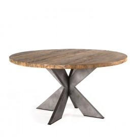 Reclaimed Teak Wood Round Industrial Metal Legs Dining Table