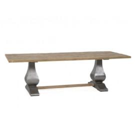 Reclaimed Teak Wood Rectangle Industrial Pedestal Legs Dining Table