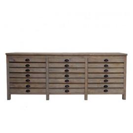 Reclaimed Bleached Pine Printmakers Sideboard Cabinet