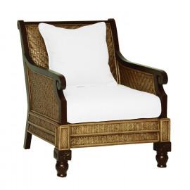 Dark Wood & Rattan Plantation White Cushion Arm Chair