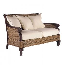 Dark Wood & Rattan Plantation White Cushion Loveseat