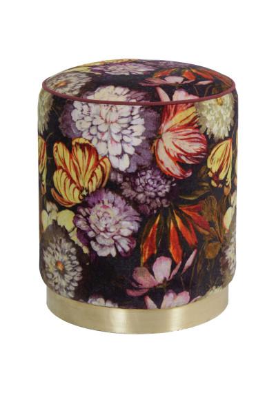 Floral Paradise Print Round Velvet Ottoman Footstool