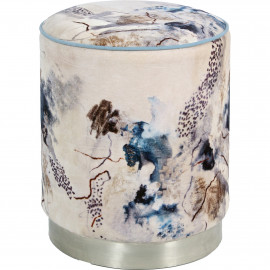 Abstract Blue Cream Black Round Velvet Ottoman Footstool Silver Base