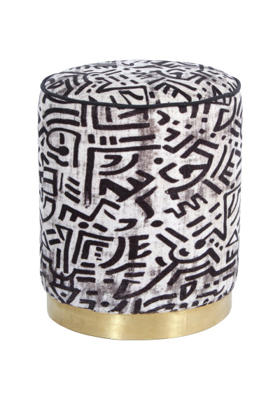 Abstract Black & White Round Velvet Ottoman Footstool Piping Brass Base