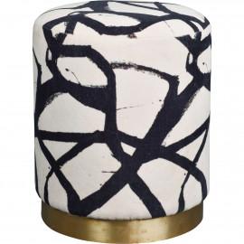 Abstract Black & White Round Velvet Ottoman Footstool Brass Base