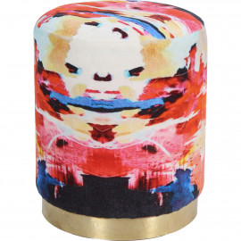 Abstract Bright Colors Round Velvet Ottoman Footstool Brass Base