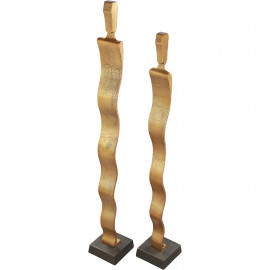 Golden Human Figures Abstract Decor Set of 2