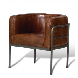 Industrial Iron Pipe Barrel Shape Brown Leather Chair