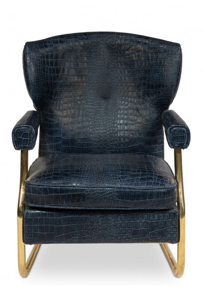 Blue Leather Croc Print Gold Accent Living Room Chair