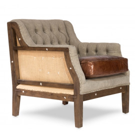 Tufted Linen Vintage Leather & Jute Deconstructed Club Chair