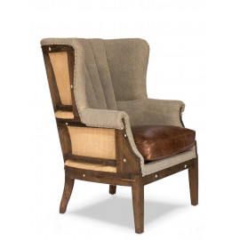 Channel Tufted Linen Vintage Leather & Jute Deconstructed Library Chair