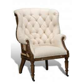 White Tufted Linen & Jute Deconstructed Library Chair